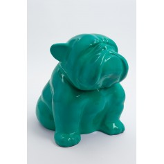 LIVERPOOL - 60cm - Statue chien bouledogue anglais trappu taille M colori vert canard
