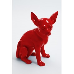 CANCUN - 38cm - Statue chien chihuahua assis taille S colori rouge
