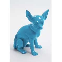 CANCUN - 38cm - Statue chien chihuahua assis taille S colori bleu turquoise