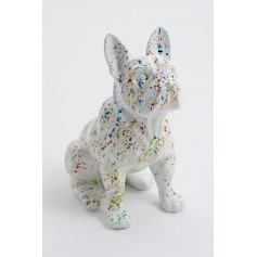 TOULOUSE - 30 cm - Statue chien bouledogue francais assis taille XS design splash blanc