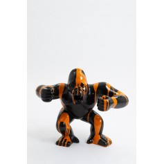 KINSHASA - 55cm - Statue gorille agressif king kong taille S colori noir design trash orange