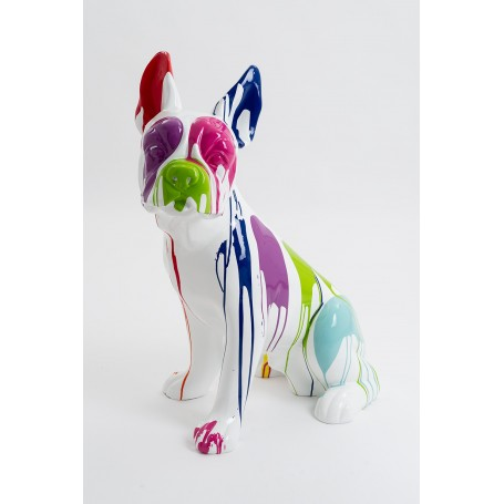 OBERNAI - 85cm - Statue chien bouledogue francais assis taille M design trash multicolore + colori de la base au choix