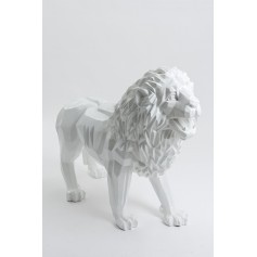 MOMBO - 100cm - Statue lion origami debout taille L colori blanc