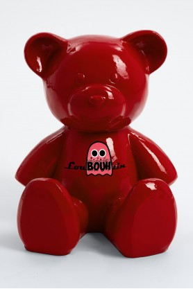 AION - 35cm - Statue ours ourson teddy bear taille S sticker design loubouhtin coloris rouge