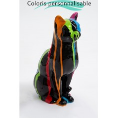 BRUGES - 40cm - Statue sculpture chat assis taille S design trash multicolore + coloris de la base au choix