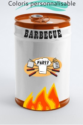 ALESIA - 50cm - Tonneau petit baril en métal S design stickers barbecue party coloris au choix