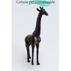 JOHANNESBURG - 210cm - Statue girafe taille XL design trash multicolore + colori de la base au choix