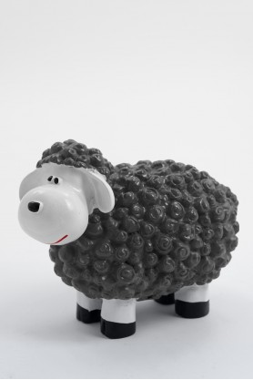 CAHIR - 30cm - Statue mouton cartoon taille XS coloris gris