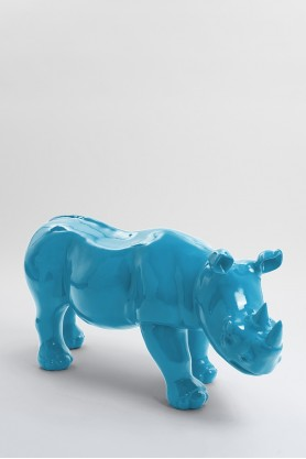 BODIKI - 110cm - Statue rhinoceros ultra lisse taille M coloris bleu turquoise