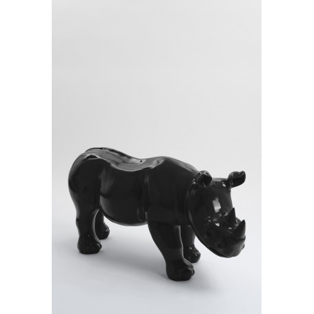 BODIKI - 110cm - Statue rhinoceros ultra lisse taille M coloris gris anthracite
