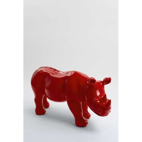 BODIKI - 110cm - Statue rhinoceros ultra lisse taille M coloris rouge
