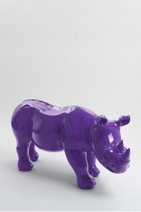 BODIKI - 110cm - Statue rhinoceros ultra lisse taille M coloris violet